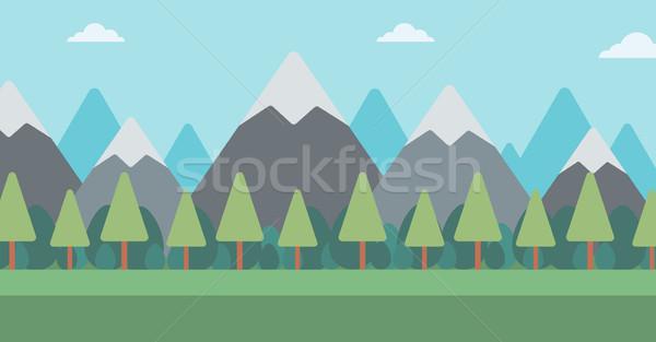 Stock fotó: Hegy · tájkép · vektor · terv · illusztráció · vízszintes