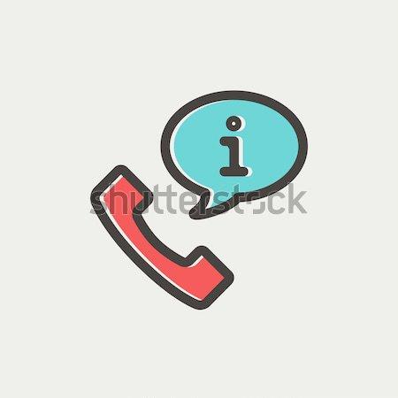 Telefonkagyló információ jel vonal ikon sarkok háló Stock fotó © RAStudio