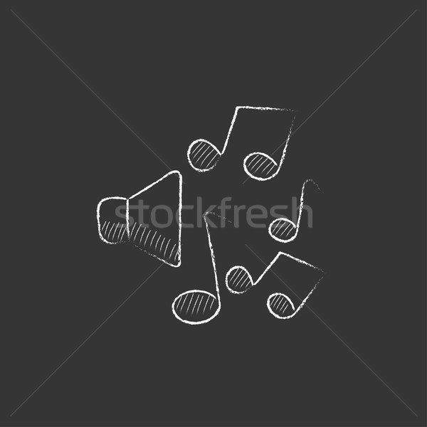 Loudspeakers with music notes. Drawn in chalk icon. Stock photo © RAStudio
