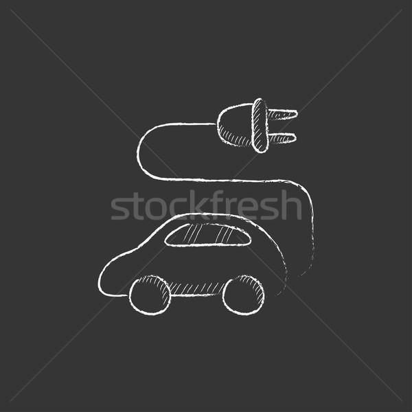 Coche eléctrico tiza icono dibujado a mano vector Foto stock © RAStudio