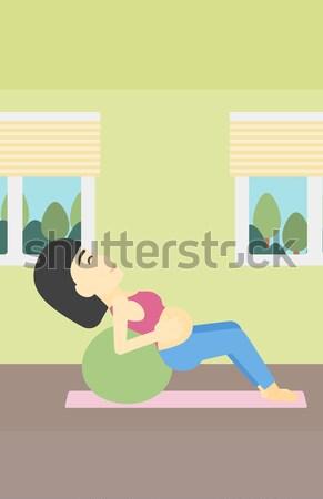 Stock fotó: Terhes · nő · gimnasztikai · labda · bent · vektor · terv