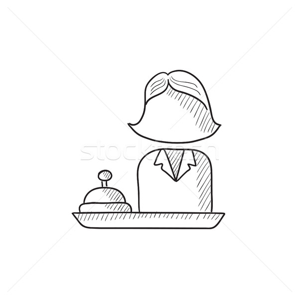 Female receptionist sketch icon. Stock photo © RAStudio