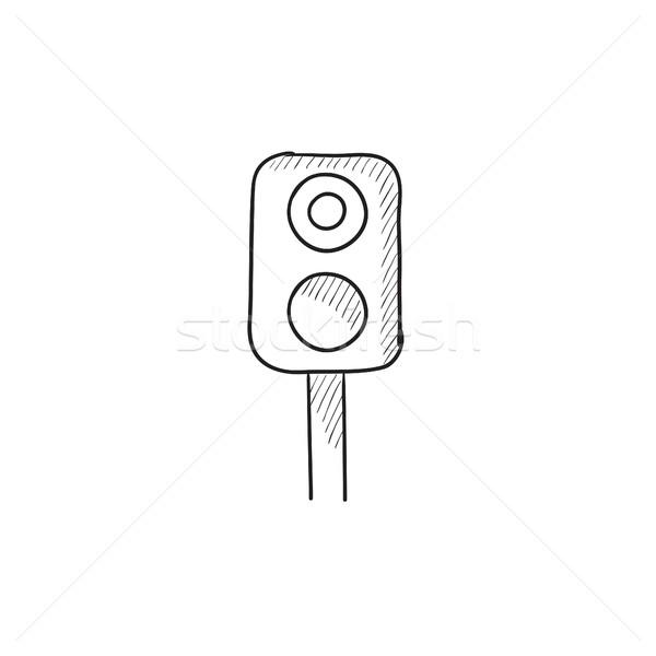 Ferrocarril semáforo boceto icono vector aislado Foto stock © RAStudio