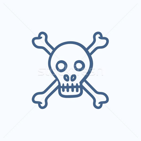 Skull and cross bones sketch icon. Stock photo © RAStudio