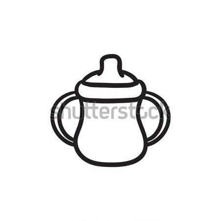 Bébé bouteille croquis icône vecteur isolé Photo stock © RAStudio