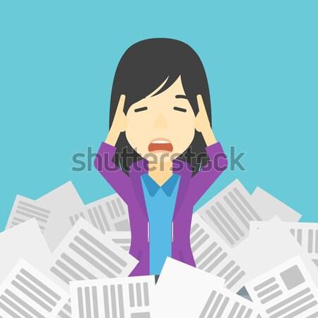 Stressed business woman having lots of work to do. Stock photo © RAStudio