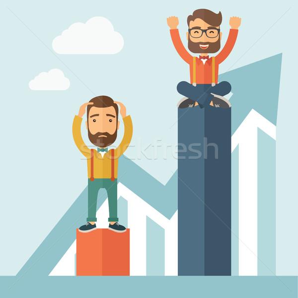 Twee zakenlieden een gelukkig ander triest Stockfoto © RAStudio