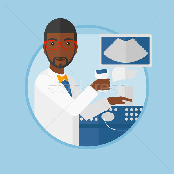 Male ultrasound doctor vector illustration. Stock photo © RAStudio