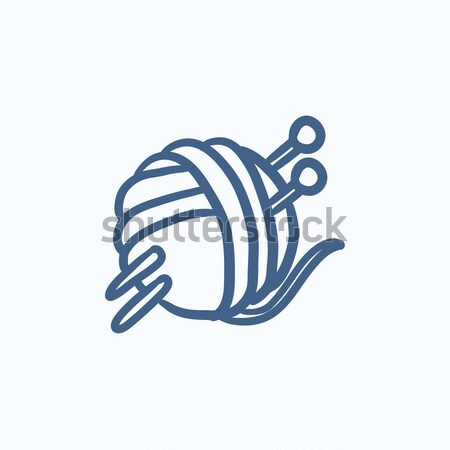 Threads for knitting with spokes sketch icon. Stock photo © RAStudio