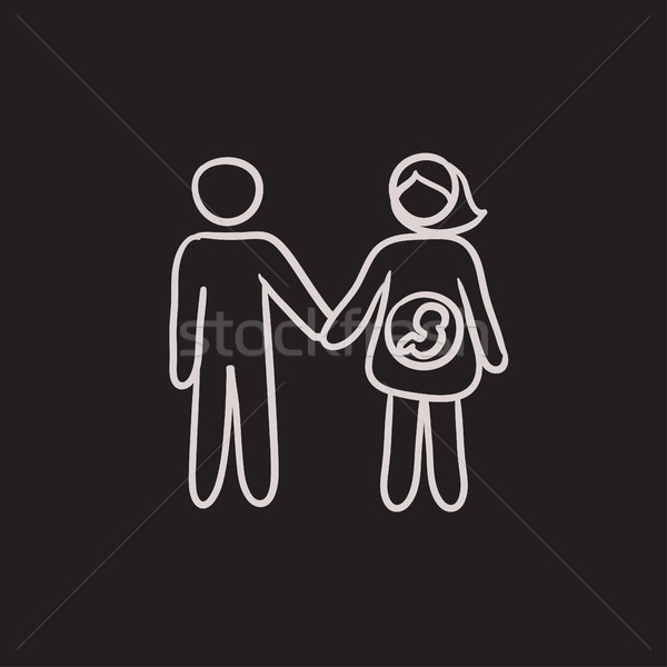Stock photo: Husband with pregnant wife sketch icon.
