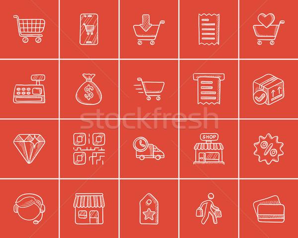 Stock photo: Shopping sketch icon set.