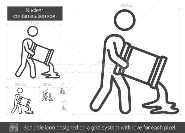 Stock fotó: Nukleáris · vonal · ikon · vektor · izolált · fehér