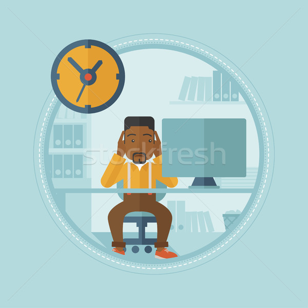 Tired employee unable to cope with deadline. Stock photo © RAStudio