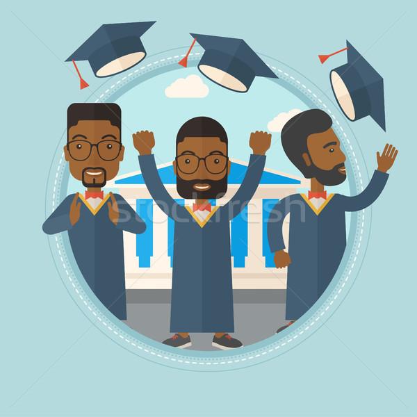Diplomások dob felfelé sapkák akadémia épület Stock fotó © RAStudio