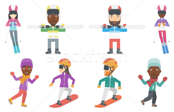 Vector set of winter sport characters. Stock photo © RAStudio