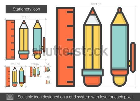 Materiały biurowe line ikona wektora odizolowany biały Zdjęcia stock © RAStudio
