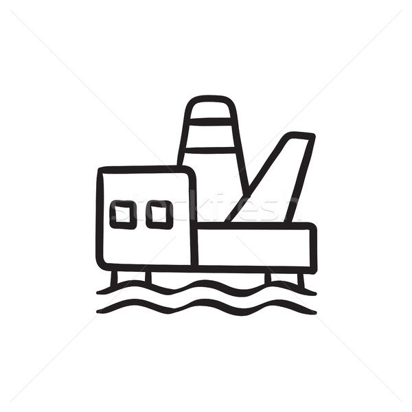 Offshore olie schets icon vector Stockfoto © RAStudio