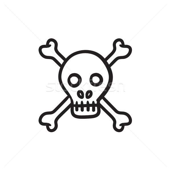 Skull and cross bones sketch icon. Stock photo © RAStudio
