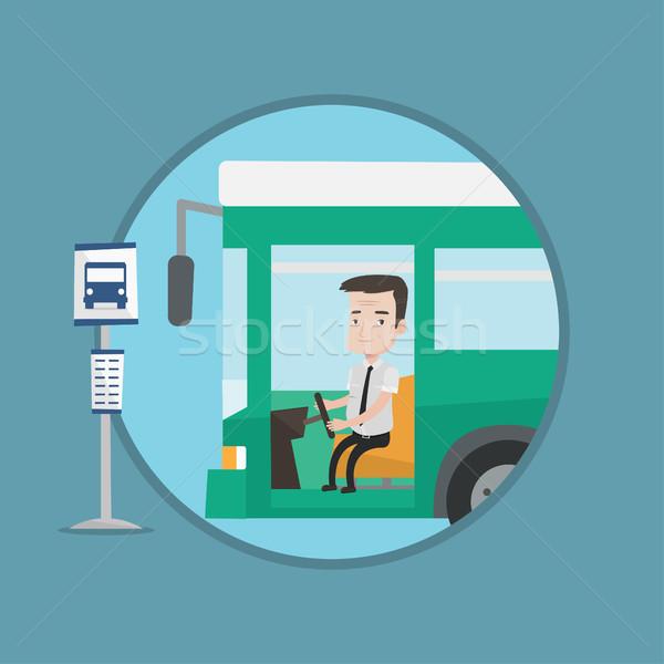 Foto stock: Caucasiano · ônibus · motorista · sessão · volante · condução