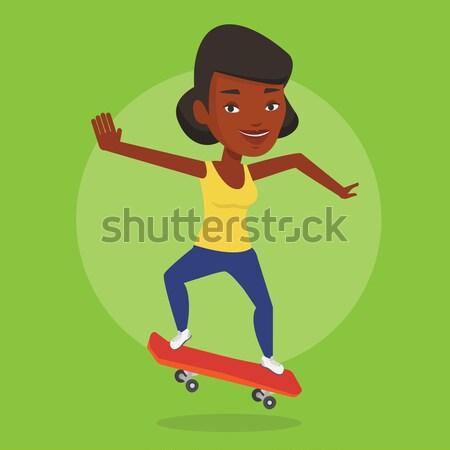 Kobieta jazda konna deskorolka sportsmenka skateboarding łyżwiarz Zdjęcia stock © RAStudio