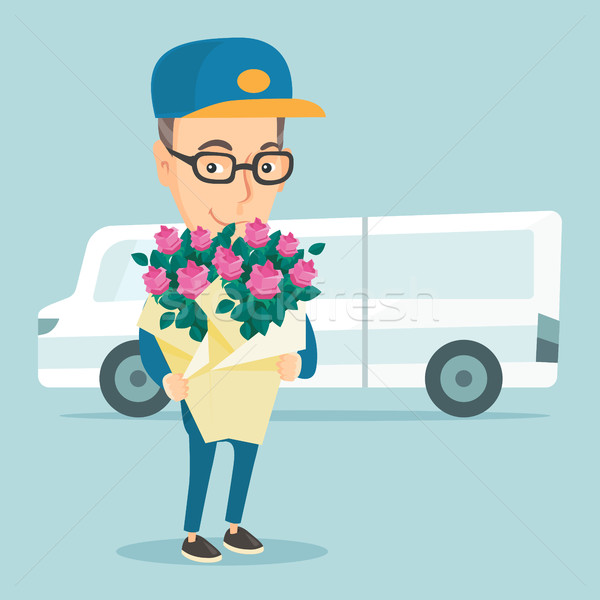 Stock foto: Lieferung · Kurier · halten · Bouquet · Blumen
