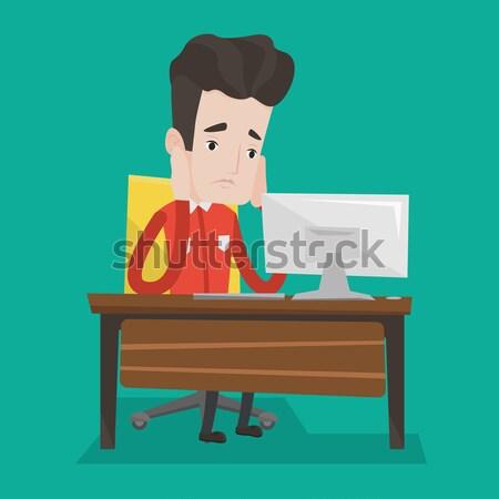 Kimerült szomorú alkalmazott dolgozik iroda unatkozik Stock fotó © RAStudio