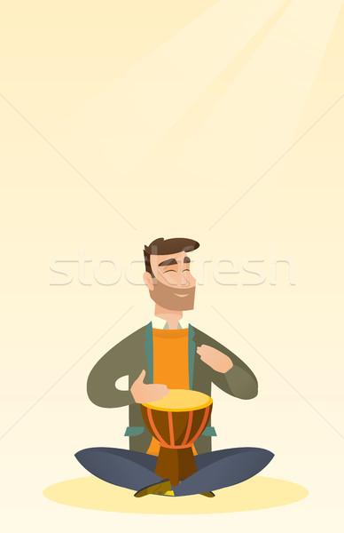 Man spelen etnische trommel kaukasisch Stockfoto © RAStudio