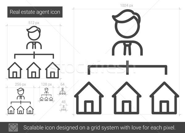 Makelaar lijn icon vector geïsoleerd witte Stockfoto © RAStudio