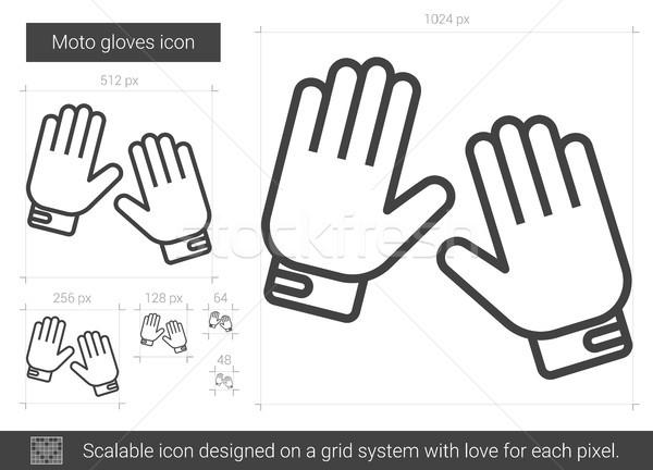 Мото перчатки линия икона вектора изолированный Сток-фото © RAStudio