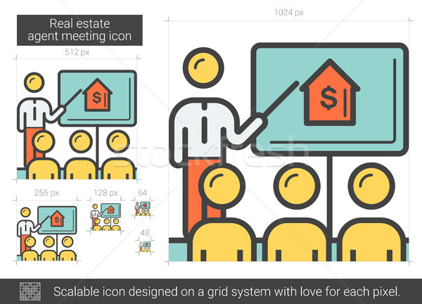 Real estate agent meeting line icon. Stock photo © RAStudio