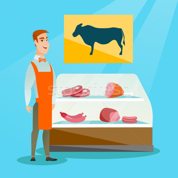 Açougueiro oferta fresco carne compras jovem Foto stock © RAStudio