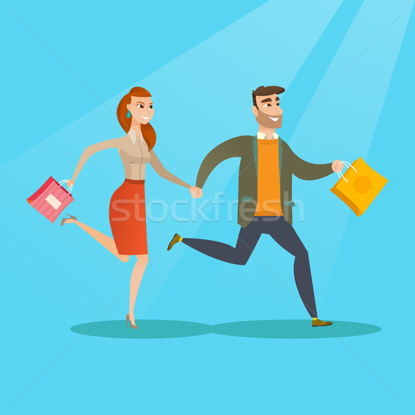 People running in a hurry to the store on sale. Stock photo © RAStudio