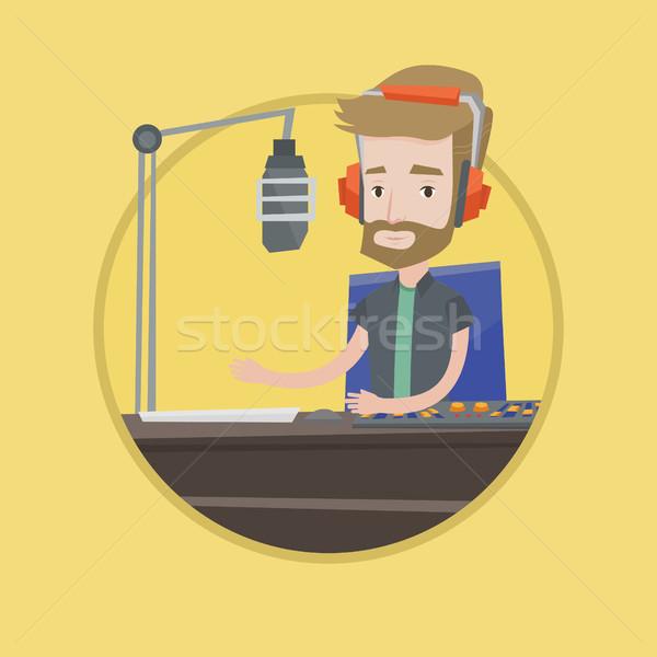 Male dj working on the radio vector illustration Stock photo © RAStudio