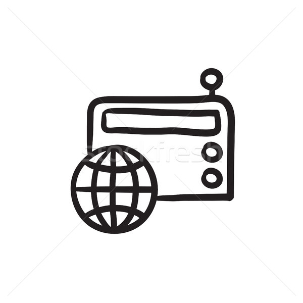 Retro radio schets icon vector geïsoleerd Stockfoto © RAStudio