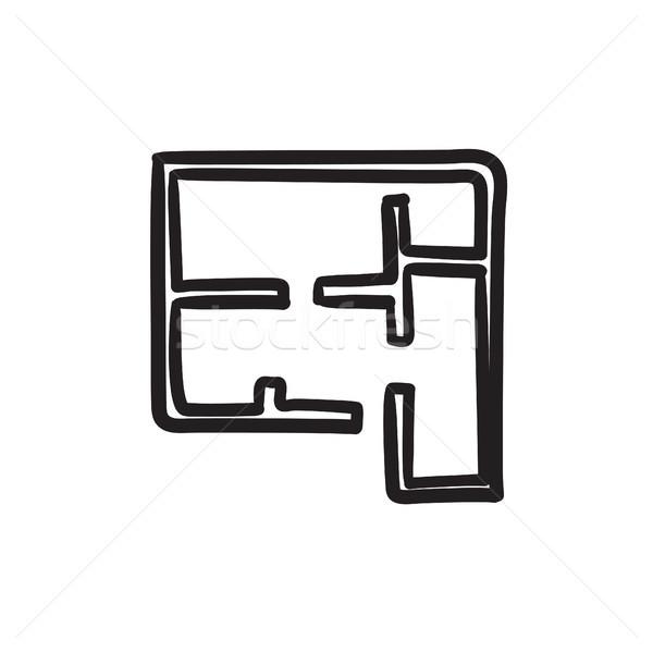 Lay-out huis schets icon vector geïsoleerd Stockfoto © RAStudio
