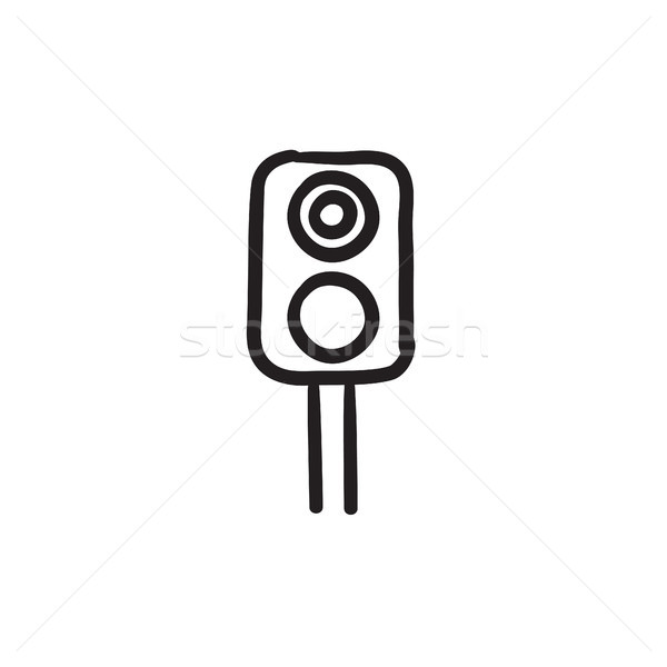 Railway traffic light sketch icon. Stock photo © RAStudio