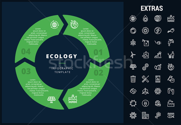 Ekoloji şablon elemanları simgeler özelleştirilebilir Stok fotoğraf © RAStudio