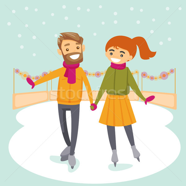 Caucasian white couple skating on ice rink outdoor Stock photo © RAStudio