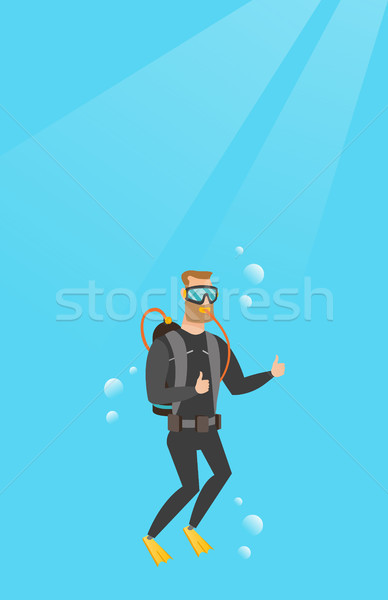 Jeunes plongeur pouce up homme blanc Photo stock © RAStudio