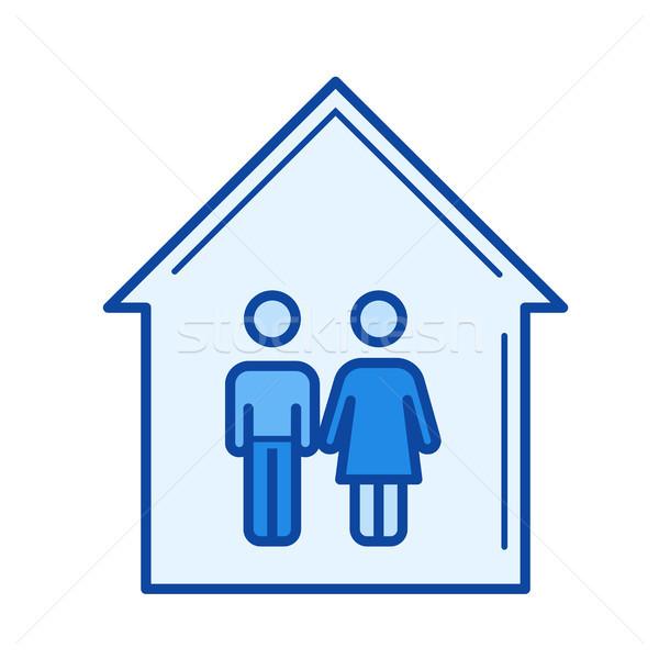 Young couple house line icon. Stock photo © RAStudio