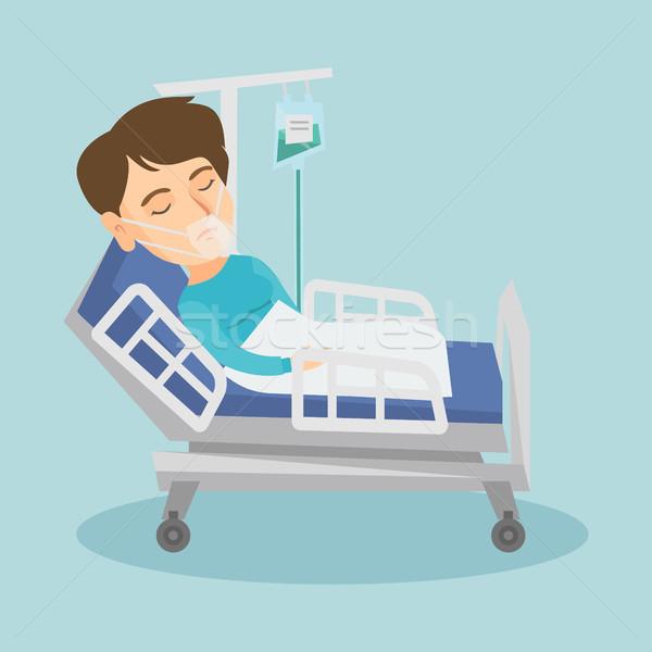Beteg kórházi ágy oxigénmaszk kaukázusi nő orvosi eljárás Stock fotó © RAStudio