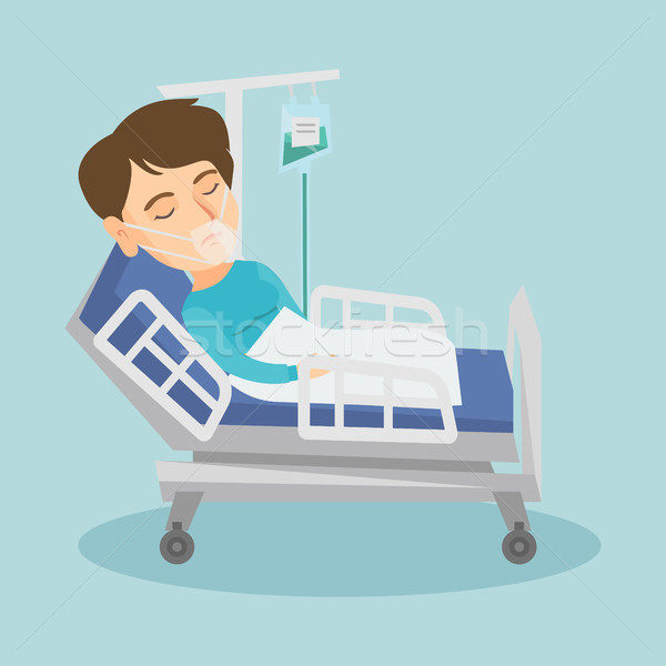 Paciente cama de hospital máscara de oxigênio caucasiano mulher procedimento médico Foto stock © RAStudio