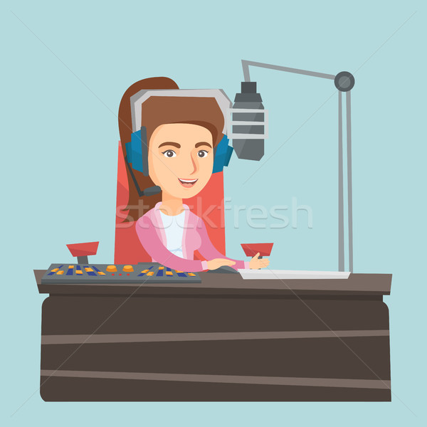 Young female caucasian dj working on radio. Stock photo © RAStudio