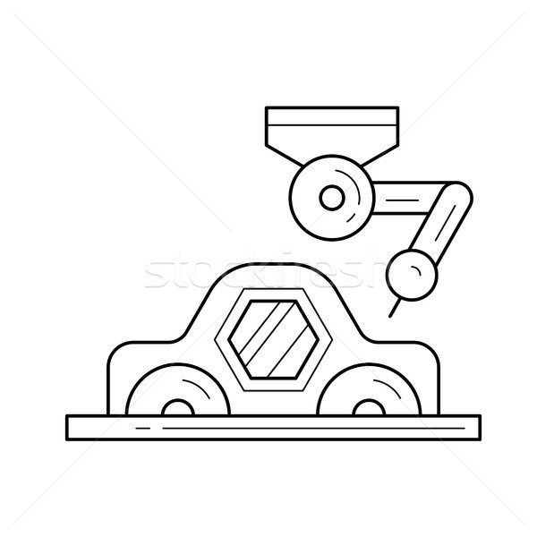 Car assembly with a robotic arm vector line icon. Stock photo © RAStudio