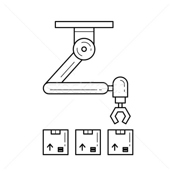 Warehouse robotic arm vector line icon. Stock photo © RAStudio