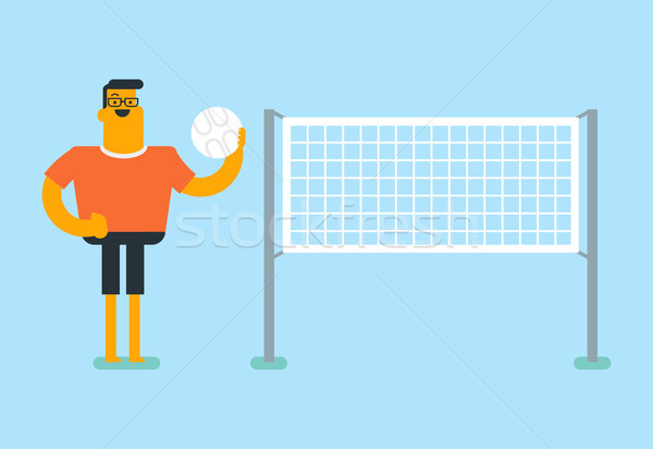 Young caucasian white sportsman playing volleyball Stock photo © RAStudio