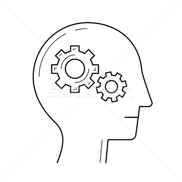 Brain with gear line icon. Stock photo © RAStudio