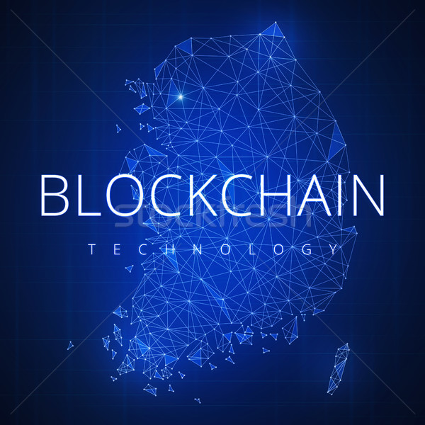 Blockchain technology hud banner with South korea map. Stock photo © RAStudio