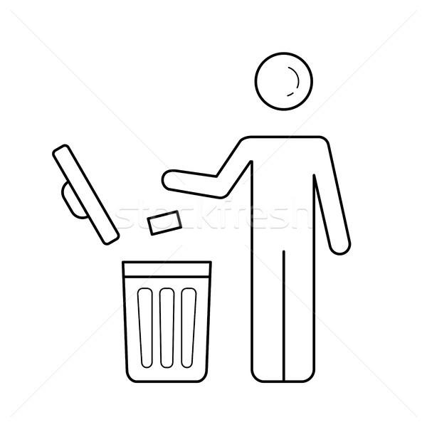 Man throwing garbage in trash bin vector line icon Stock photo © RAStudio