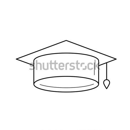 Graduação boné vetor linha ícone isolado Foto stock © RAStudio